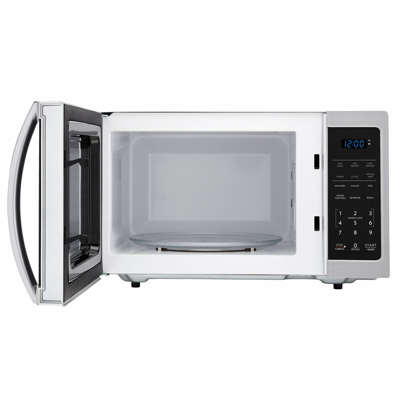 0.9 cu. ft. 900W Sharp Stainless Steel Carousel Countertop Microwave (SMC0912BS) – front view with door open