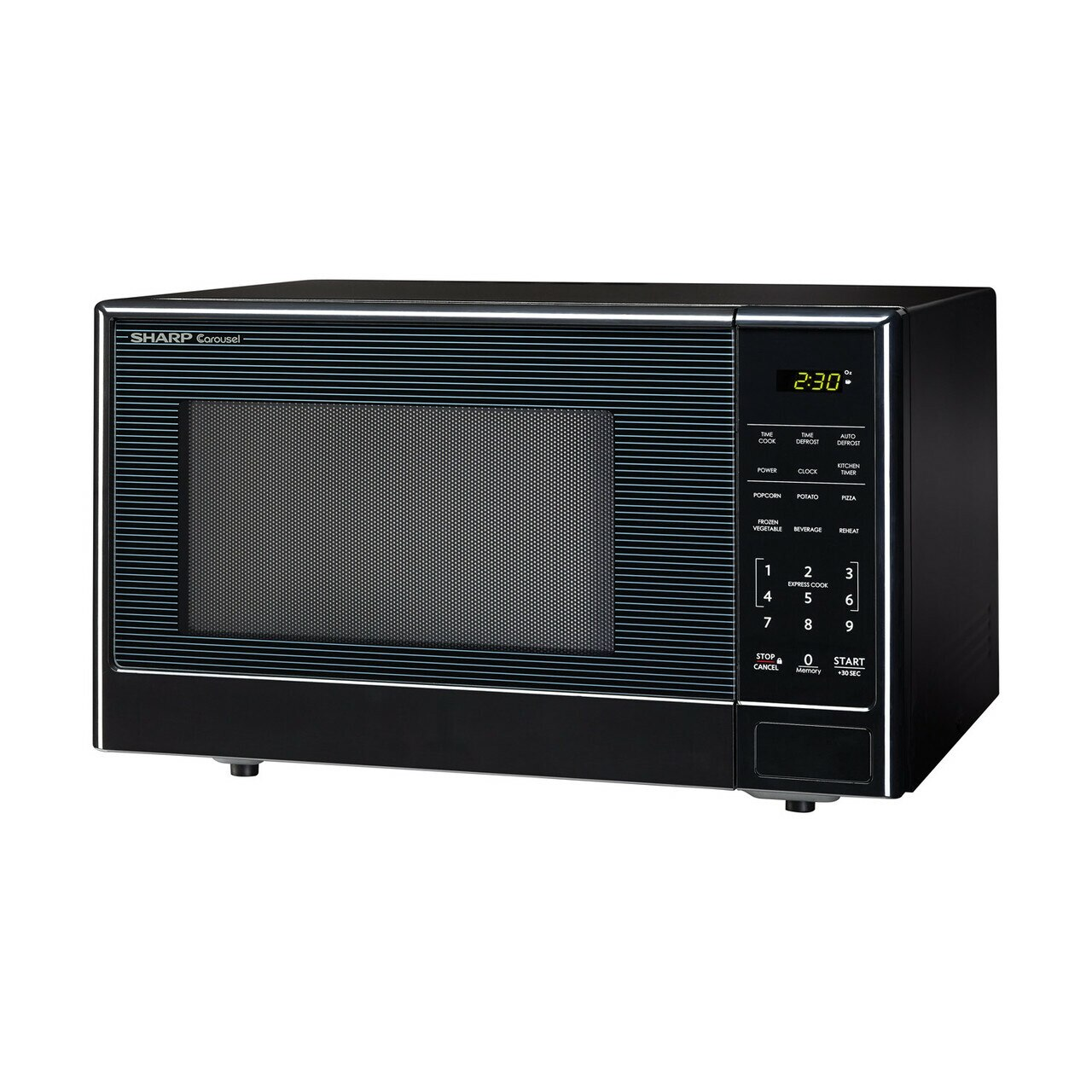 1.1 cu. ft. Sharp Black Carousel Countertop Microwave (SMC1111AB) – left angle view
