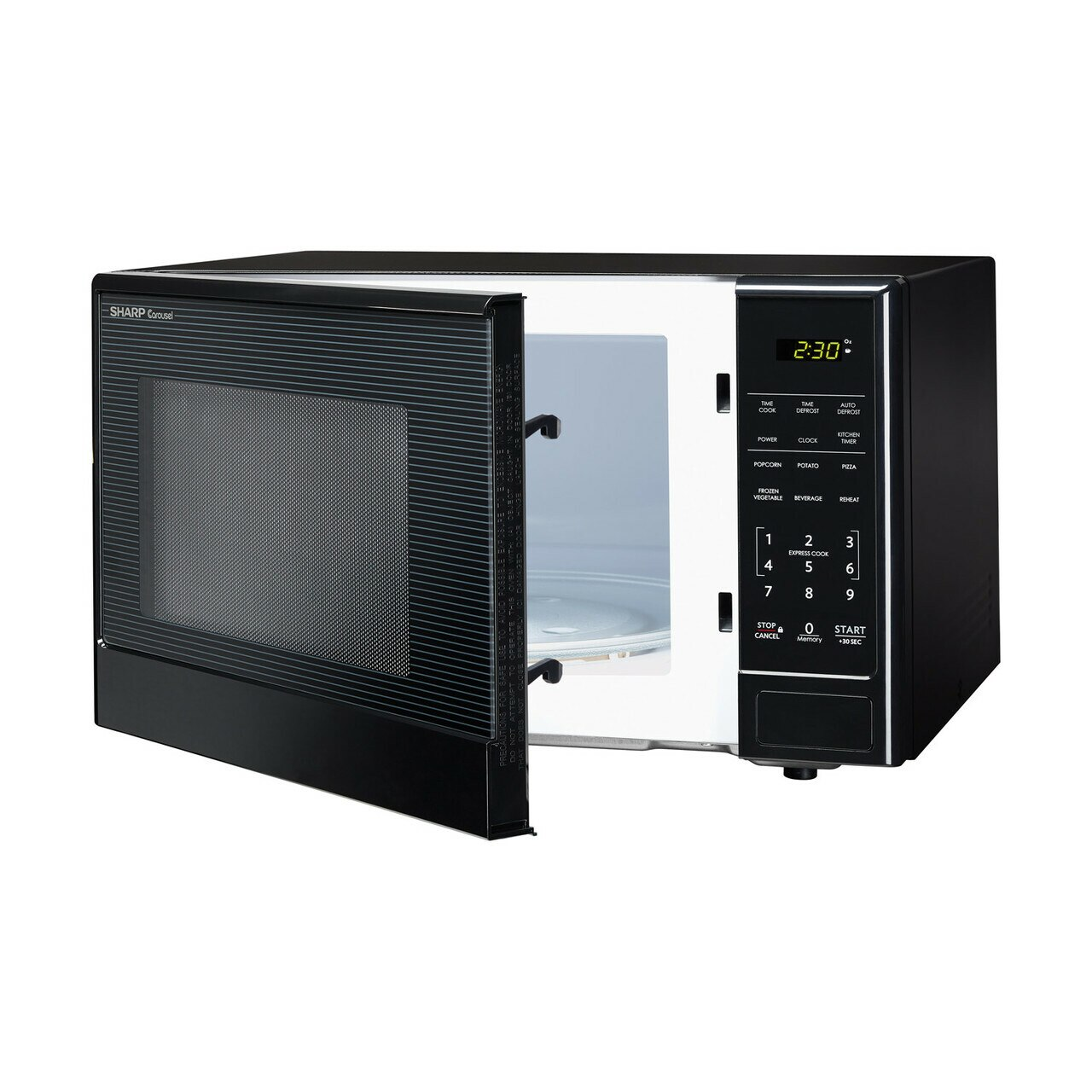 1.1 cu. ft. Sharp Black Carousel Countertop Microwave (SMC1111AB) – left angle view with door open