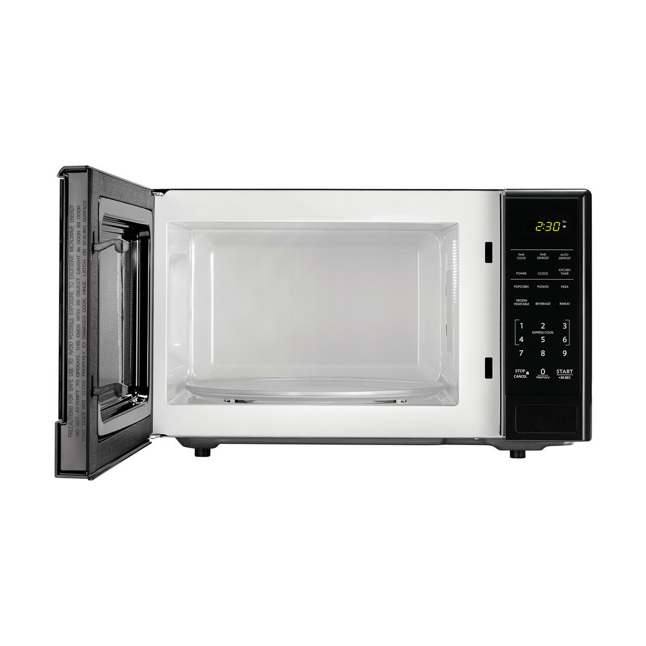 1.1 cu. ft. Sharp Black Carousel Countertop Microwave (SMC1111AB) – front view with door open