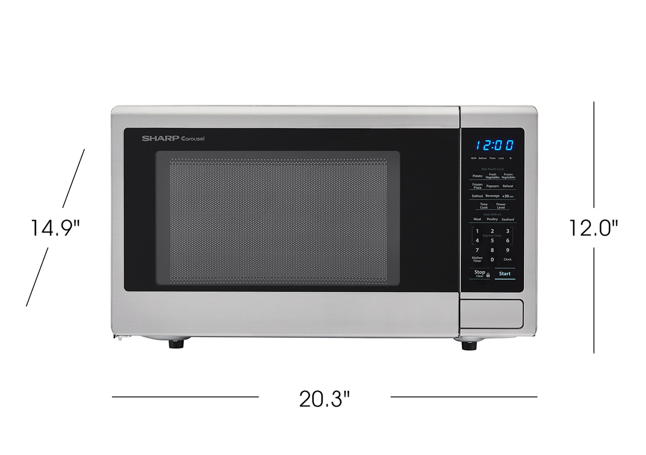 1.1 cu. ft. Sharp Stainless Steel Countertop Microwave (SMC1132CS)- product dimensions