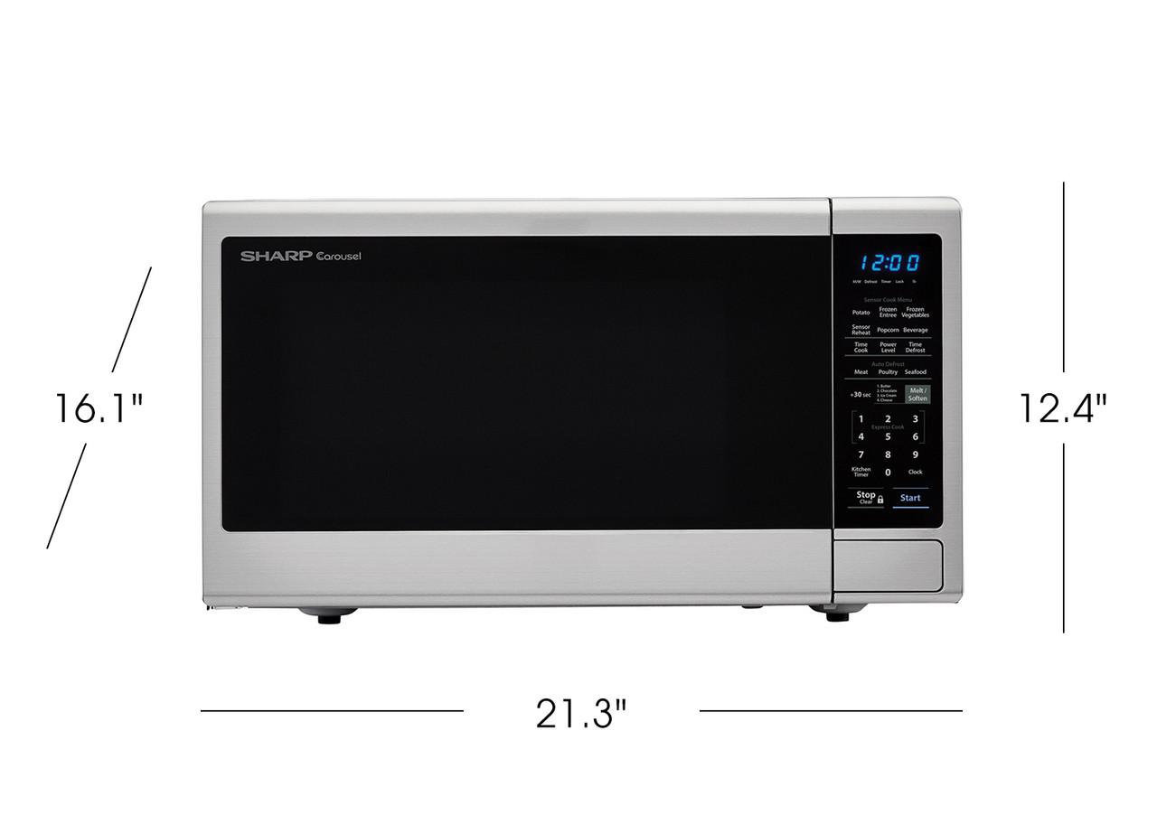 1.4 cu. ft. Sharp Black Carousel Countertop Microwave (SMC1443CM) product dimensions