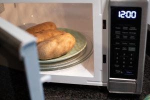 Food in a Sharp Smart Microwave