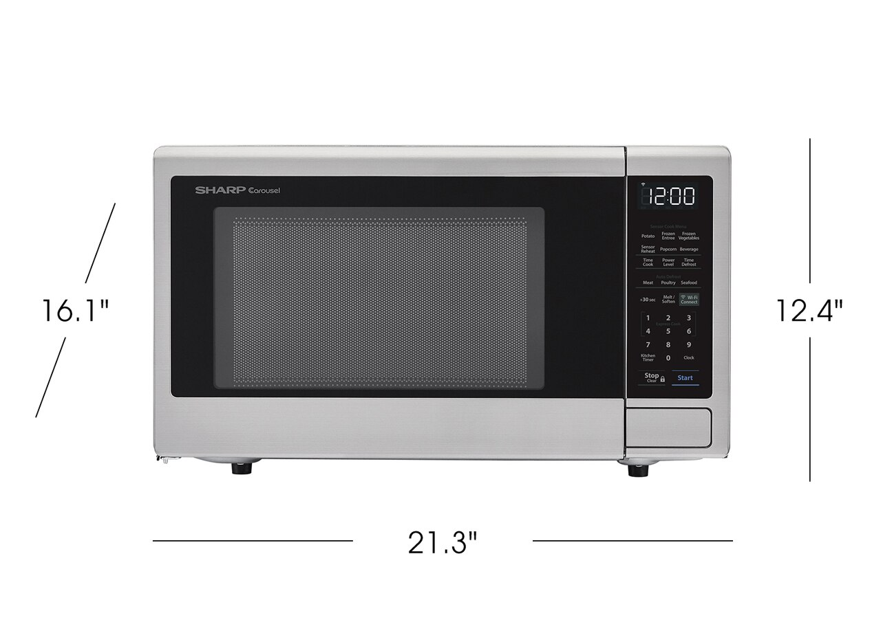 1.4 cu. ft. Sharp Stainless Steel Smart Microwave (SMC1449FS) product dimensions