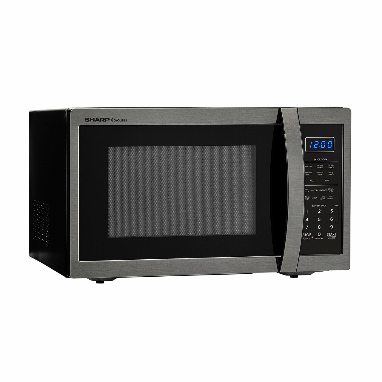 1.4 cu. ft. Sharp Black Stainless Steel Microwave (SMC1452CH) – left angle view