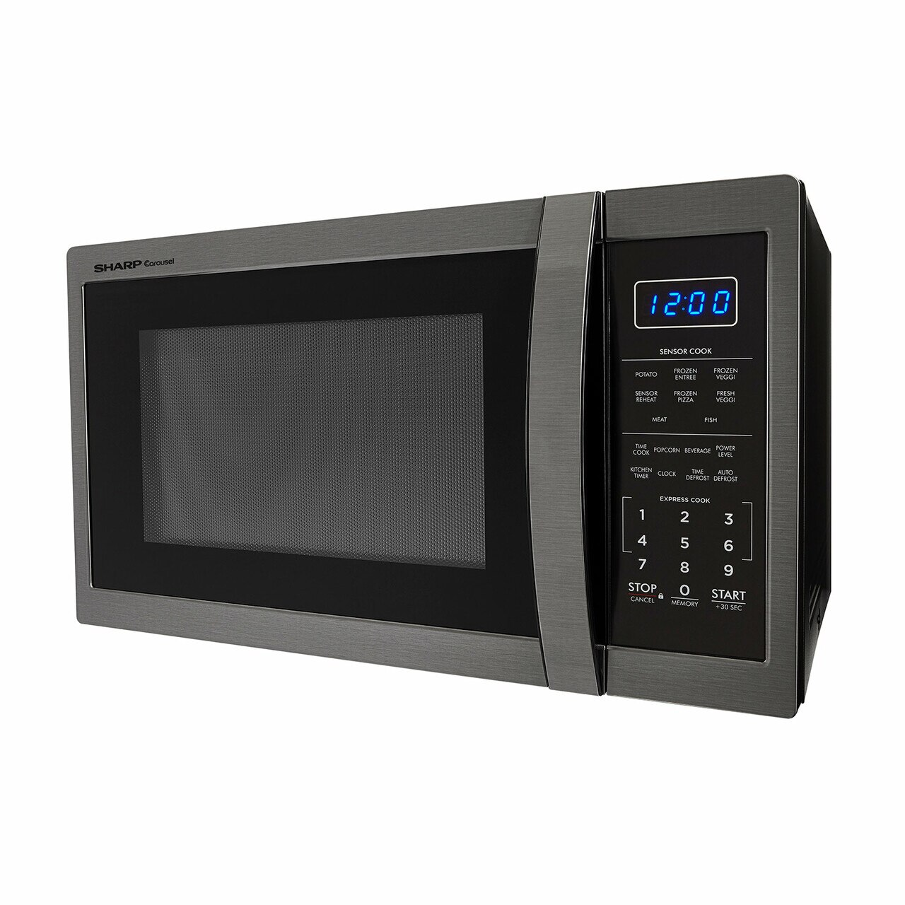 1.4 cu. ft. Sharp Black Stainless Steel Microwave (SMC1452CH) – left side view