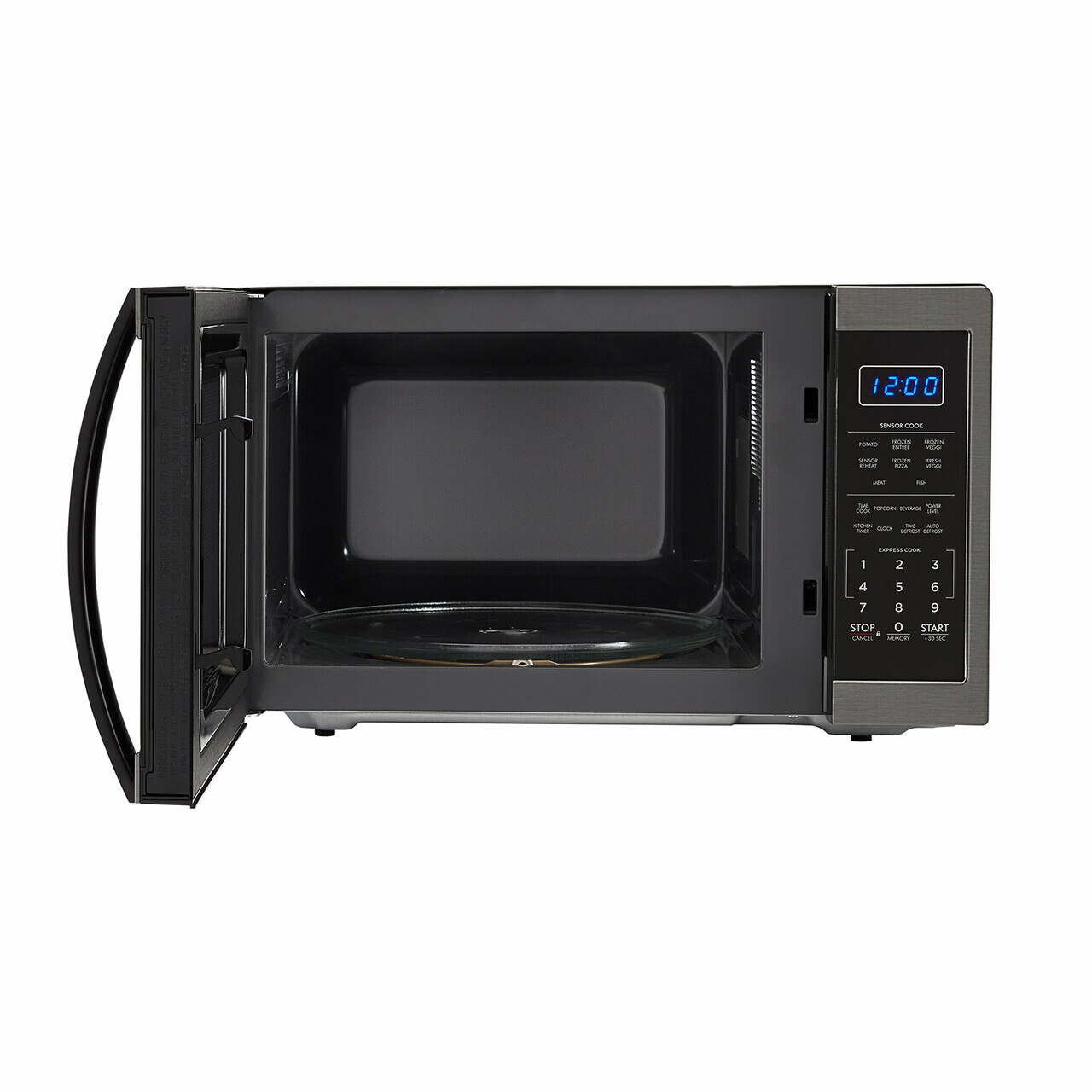 1.4 cu. ft. Sharp Black Stainless Steel Microwave (SMC1452CH) – front view with door open