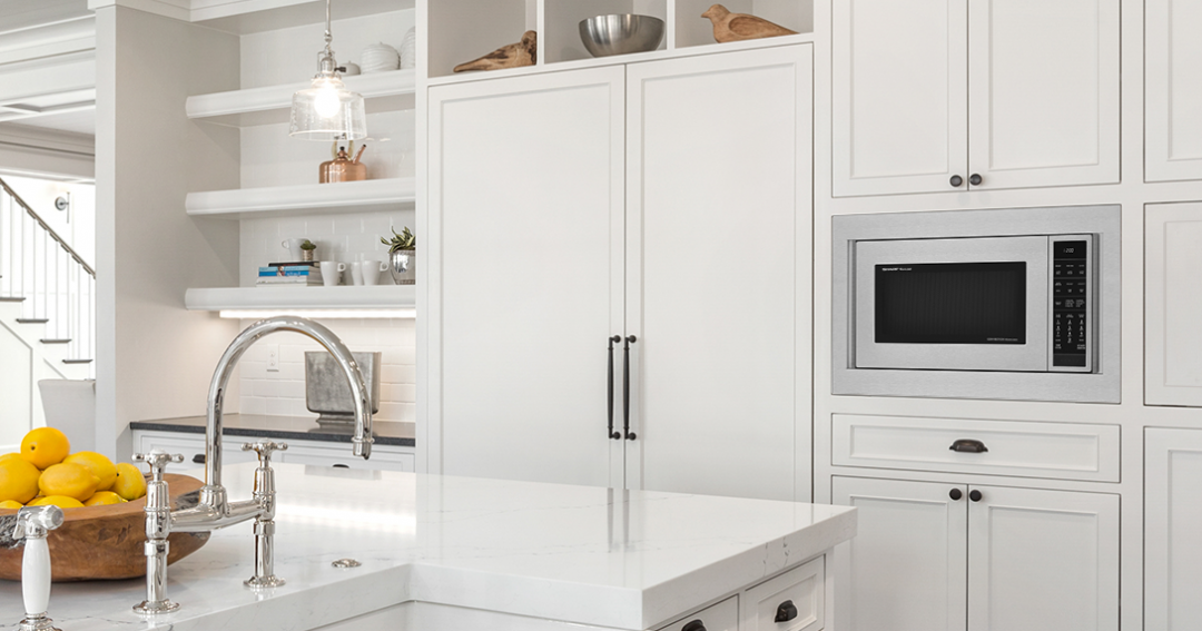 White kitchen design theme with Sharp Microwave and trim kit