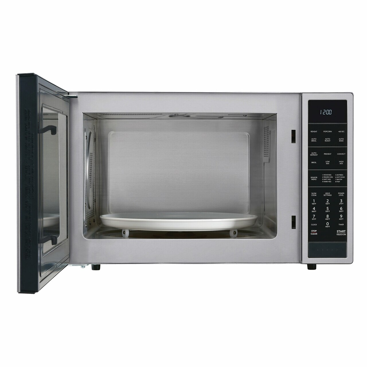 1.5 cu. ft. Sharp Stainless Steel Carousel Convection Microwave (SMC1585BS) – front view with door open
