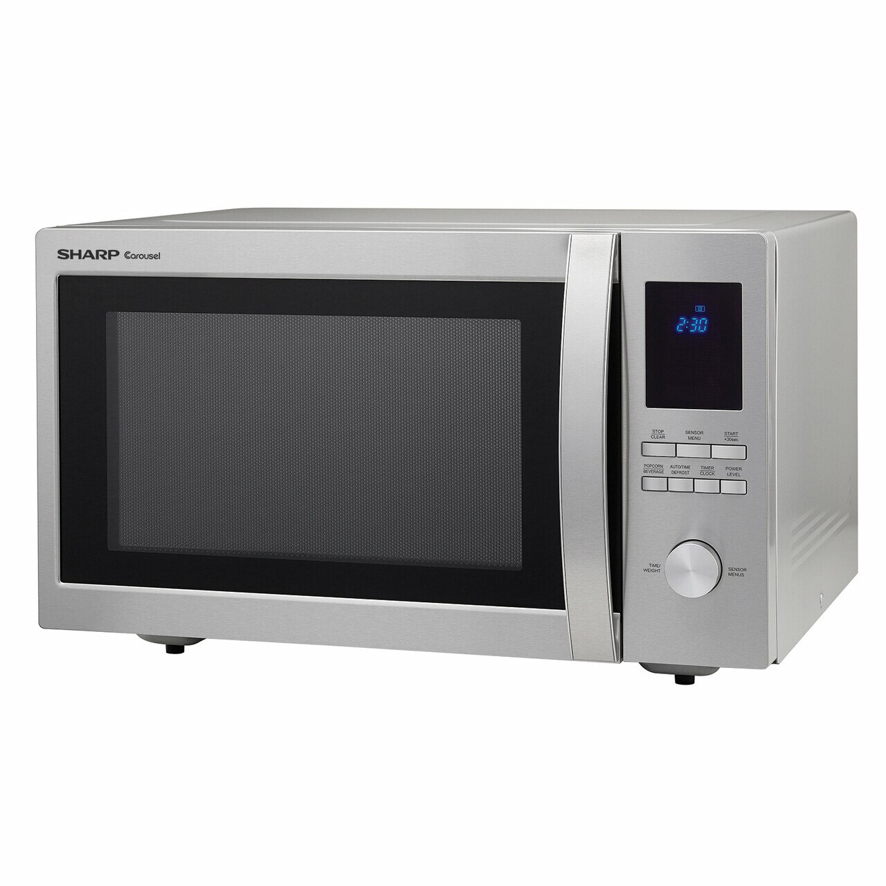 1.6 cu. ft. Sharp Stainless Steel Carousel Countertop Microwave (SMC1655BS) – left angle view