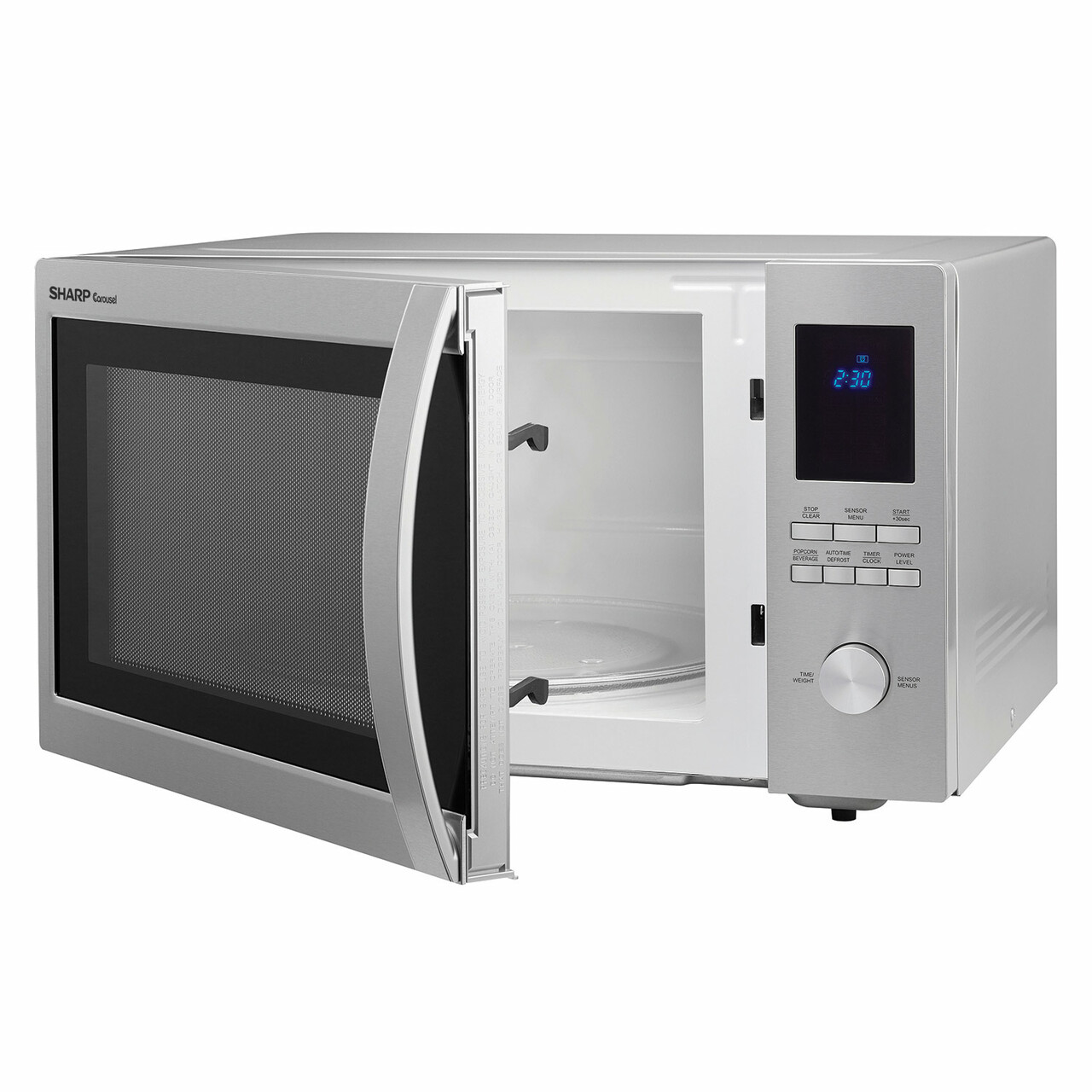 1.6 cu. ft. Sharp Stainless Steel Carousel Countertop Microwave (SMC1655BS) – left angle view with door open