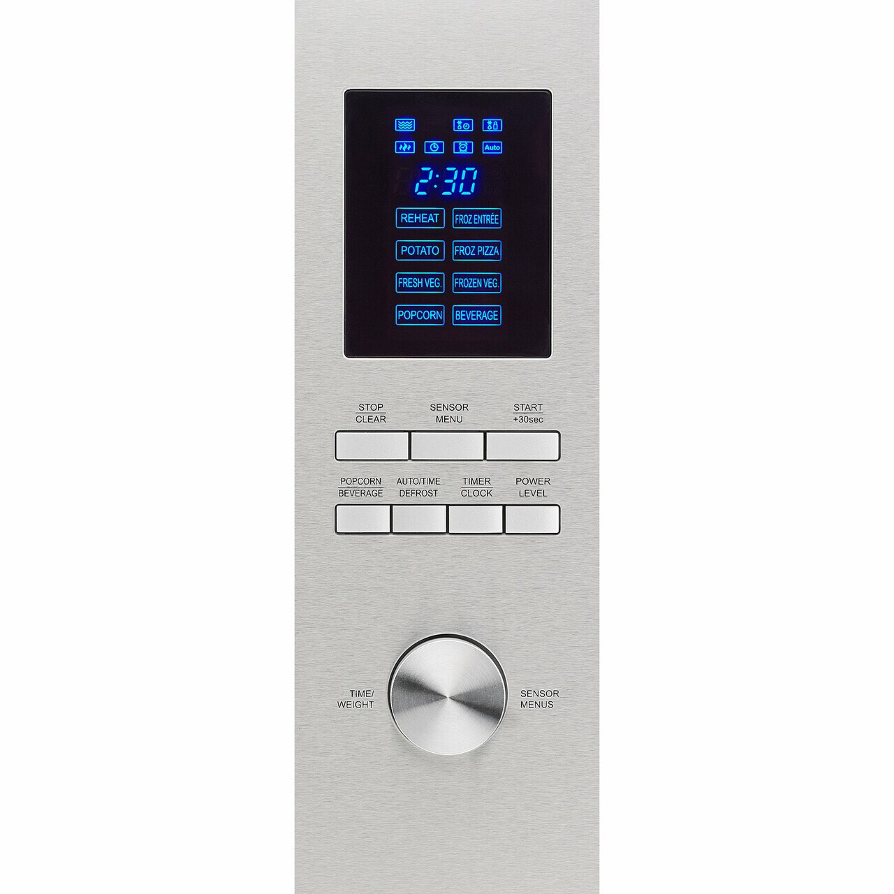 1.6 cu. ft. Sharp Stainless Steel Carousel Countertop Microwave (SMC1655BS) – control panel