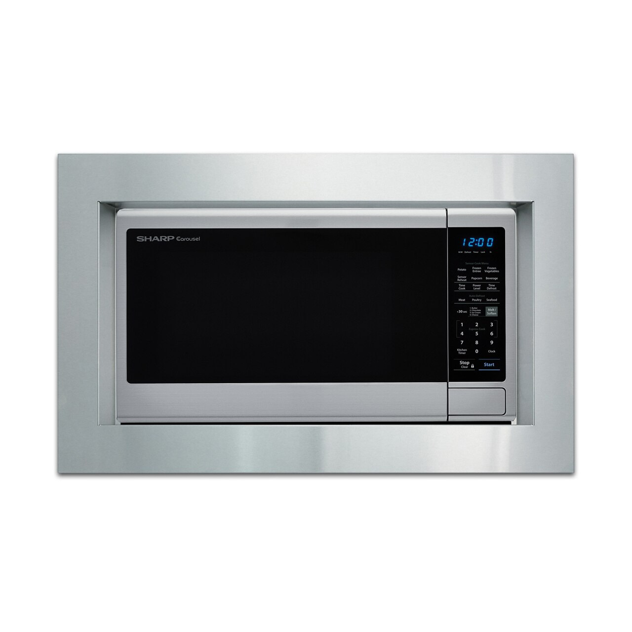 1.8 cu. ft. Sharp Stainless Steel Microwave with Black Mirror Door (SMC1843CM) – with trim kit