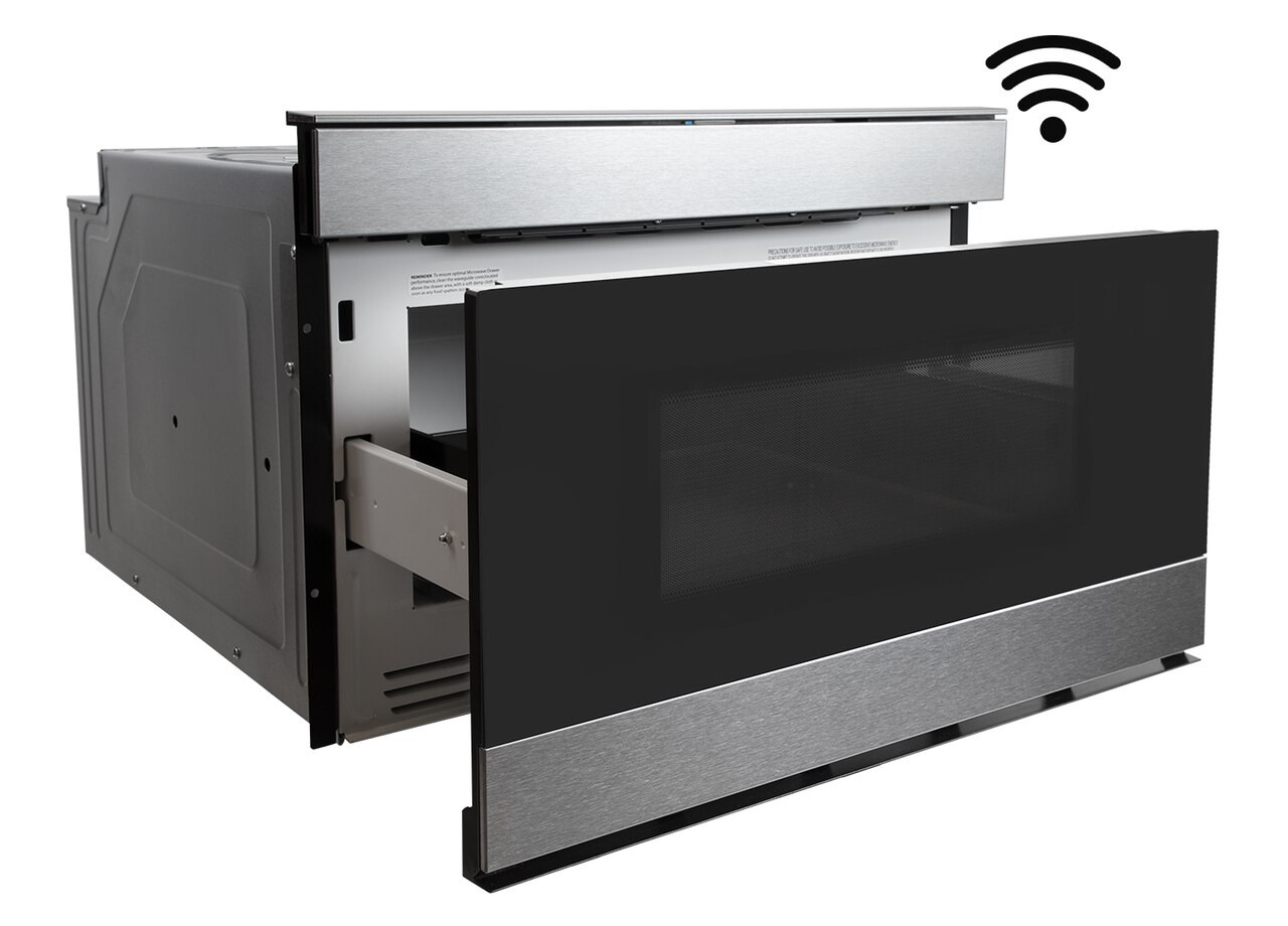 Pull-out Microwave: 24 in. Sharp Stainless Steel IoT Microwave Drawer (SMD2489ES) – right angle view with drawer open