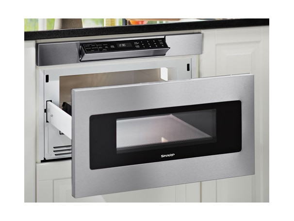 SMD3070AS 30-inch Sharp Microwave Drawer model features an easy touch automatic drawer system
