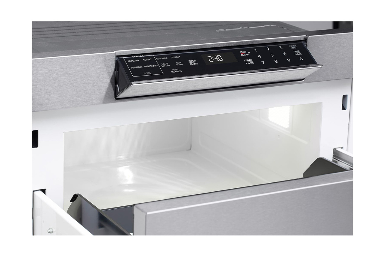 Hidden control panel on the SMD3070AS 30-inch Sharp Microwave Drawer