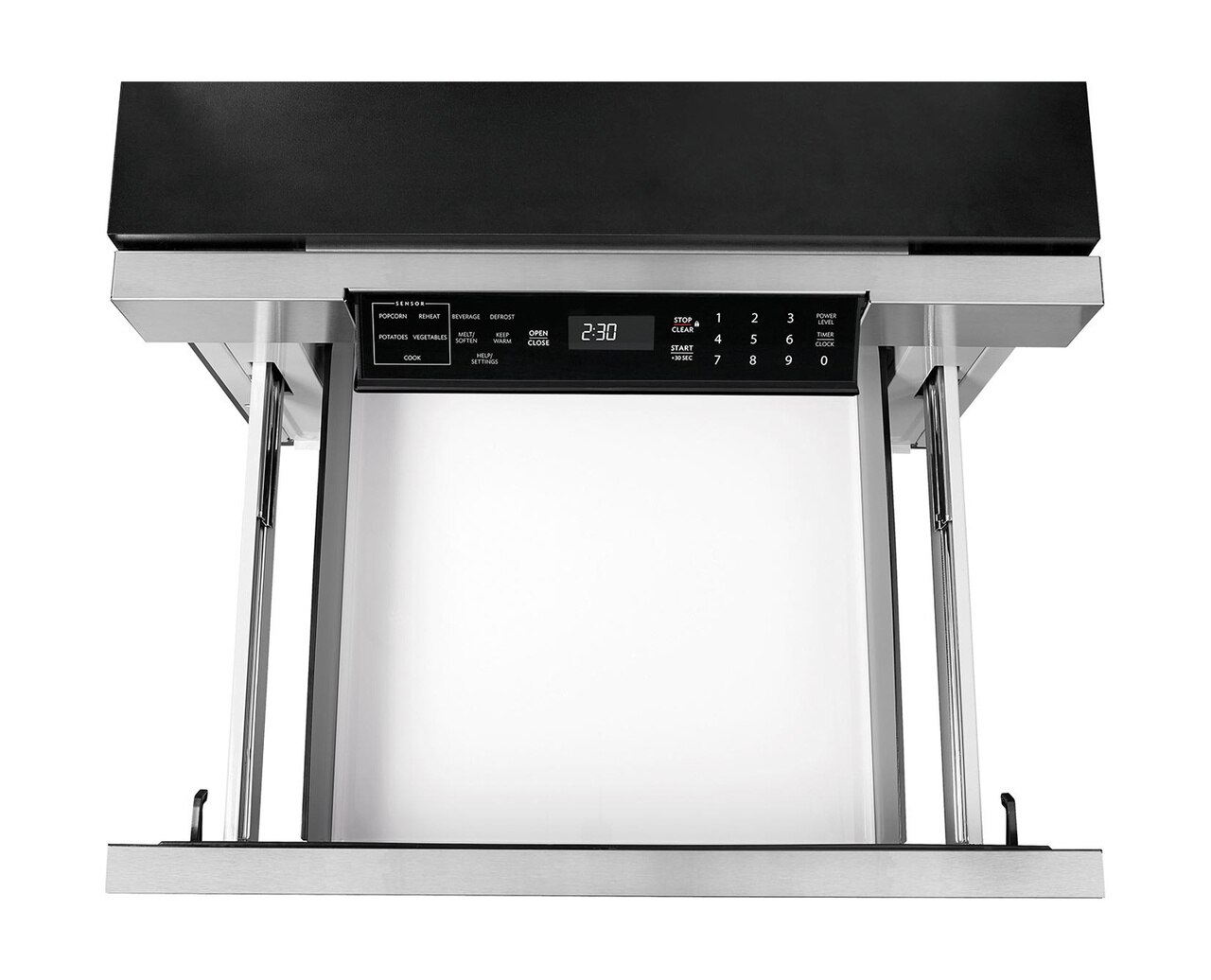 30-inch Sharp Microwave Drawer (SMD3070AS) – overhead view with drawer open