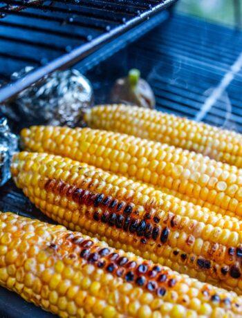 corn roasting on a grill