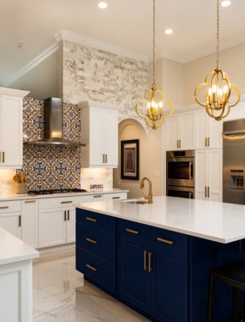 Beautiful blue and white kitchen design