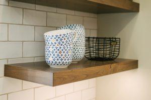 Floating shelves in kitchen