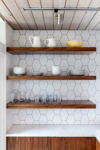 Floating shelves in kitchen.