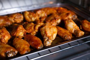 Wings in a microwave oven.