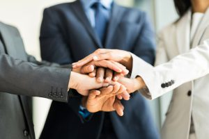 Executives collaborating with one another