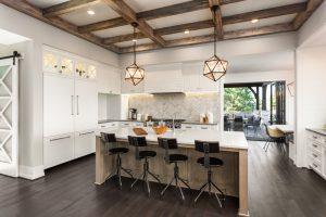 Modern kitchen design with glass backsplash