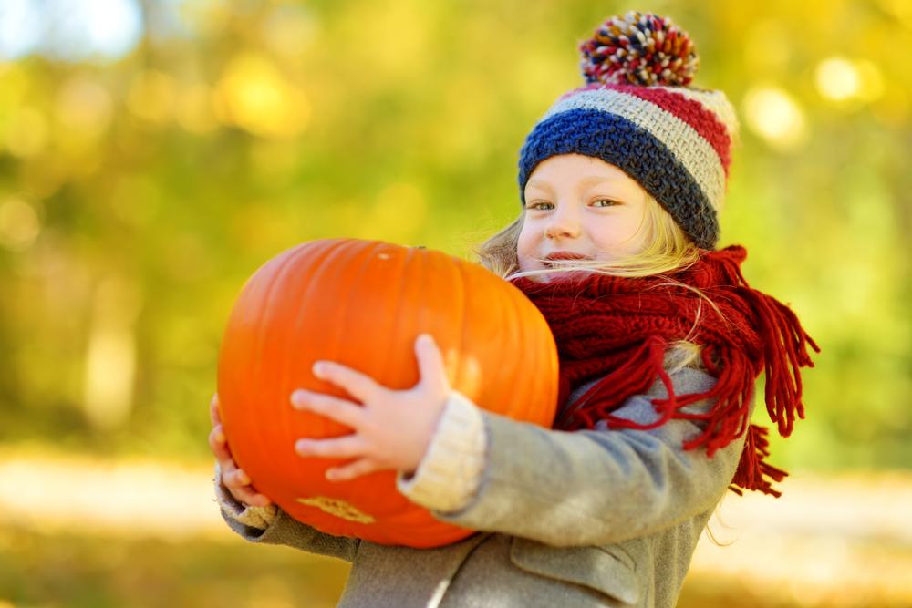 Young girl holding a pumpkin