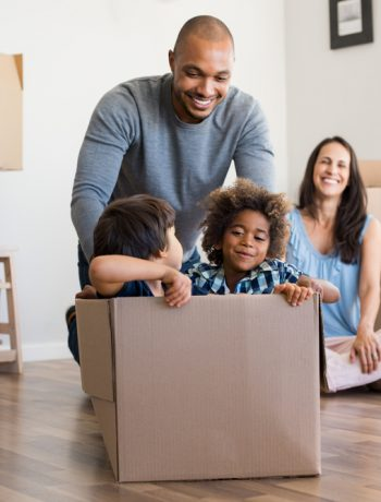 Family moving into a new home