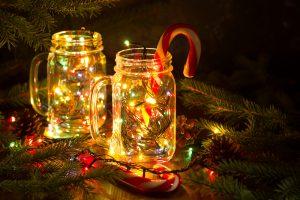 Holiday themed mason jars